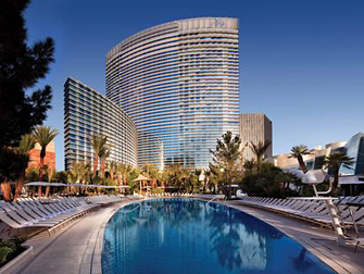 zwembad en hotel Aria in Las Vegas
